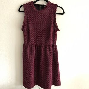 Burgundy ruffle trim fit and flare dress